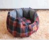 격자 무늬 직물 애완 동물 침대