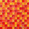 Mosaico misto di vetro della piscina di Crackle del ghiaccio di colore rosso arancione