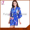 0208 Ladies' Top Sales Stock Available Plus Size S M L Xl Xxl 13 Colors Peacock Floral Print Short Satin Robe