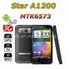 별 A1200 MTK6573 인조 인간 2.3 WCDMA 3G 4.3  전기 용량 텔레비젼 WiFi GPS 똑똑한 전화