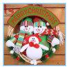 Cadeau d'élans de Santa de bonhomme de neige de peluche de guirlande de cercle de rotin de porte de décorations de Noël