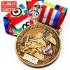 フラグカラーリボンが付いている卸し売り習慣3Dの金のロシアのゲームの金属の記念品のスポーツ賞メダル