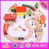 2016 Venta al por mayor bebé tren de madera de pista Set, Funny niños de madera tren pista de juego, 69 piezas de tren de madera pista Set W04c057