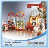 Caja transparente de la caja de la celebración de la caja del PE de la Feliz Navidad