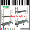 Sechs Wheeled Cart Warehouse Trolley mit HDPE Board Shelf