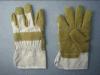Желтым пропитанные винилом перчатки искусственной кожи (2809)