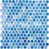 telha cerâmica do mosaico da mistura azul lustrosa redonda da moeda de um centavo de 19mm (BCZ001)
