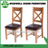 固体カシの十字の背部PUの革シートの椅子