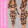 Черный пестротканый флористический комплект юбки