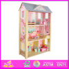 Brinquedo de madeira da casa de boneca de 2014 cabritos bonitos novos, casa de boneca de madeira das crianças encantadoras populares, casa de boneca de madeira W06A043 da forma DIY DIY