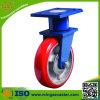 Extrahochleistungs-PU-Roheisen-blaue Haltewinkel-Fußrolle
