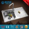 Acier inoxydable une cuvette simple étirée de bassin de cuisine avec le panneau