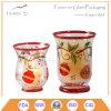 Tarro de cristal de la vela con el modelo decorativo
