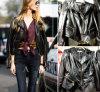 Одежда кожи куртки мотоцикла пальто PU женщин вскользь