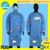 FoursのタイおよびKinttedの袖口が付いている使い捨て可能なSMSの淡いブルーの手術衣