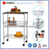 3 Reihen Chrome Metal Wire Kitchen Cart mit MDF Board