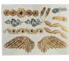 Pluma de ala de plata de oro metálico impermeable etiqueta tatuaje temporal