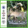 GV Small Resin Deer Sculpture avec Flower Tree (NF12174-2)