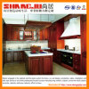 Wood contínuo Kitchen Cabinet com Natural Quartz Stone Desktop
