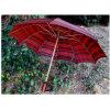 De automatische Rode Houten Rechte Paraplu van de Plaid (Wind)