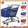 Caddie en plastique de large volume durable de chariot à achats de main (Zht86)