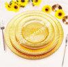 Plaque de charge en verre de dîner d'or