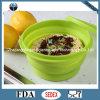 Kom van het Voedsel van het Silicone van de Rang van het Voedsel van 100% de Opvouwbare met Deksel 830ml Sfb07