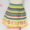 100% Cotton Colorful Water Print Embroidery Skirt for Girl's