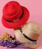 Broach de brilho Red Church Sinamay Organza Hat para Female