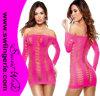 Nid de poule Net hors de Shoulder Sexy Babydoll Lingerie Dress Z01-Rose