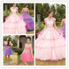 2013 Floor feito-à-medida Length Lace estratificado acima de Back Quinceanera Dresses com Detachable Skirt (SR27)