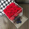 Rectángulo hermoso de la flor que empaqueta el rectángulo de acrílico de la flor de Rose