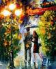 Pintura al óleo enmarcada hecha a mano del cuchillo de gama de colores del paisaje (LA1-002)