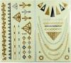 Etiquetas engomadas temporales de moda del oro y de la plata del tatuaje de la carrocería