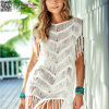 Moda feminina sem mangas Cover up Summer Crochet Beach Dress L38475