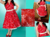 Robe élégante rouge de dames avec la ceinture en vente