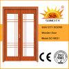 Дверь сползая стекла листьев двойника конструкции хорошего качества деревянная (SC-W031)