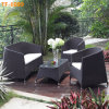 Klassisches Allwetter- im Freien Weidenpatio-Möbel-Schwätzchen-Sofa-Set