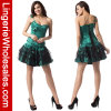 Одн-Плеча ПЛЮЩА женщин платье корсета косточки зеленого сексуальное Lace-up стальное