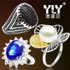 Argento dell'anello 925 dei monili Pearl/CZ di modo