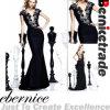 Elegante schwarze lange Nixe-formales Abend-Kleid