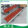Banco de parque del acero inoxidable con el asiento del banco de madera sólida de Indonesia (FY-1261X)