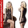 Formschwarzes Fishnet-Kleid reizvolles Bodystocking