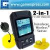 Buscador portable de los pescados in-1 de Digitaces 2, transductor de sonar de la lupa de pesca los 328ft/el 100m y sensor sin hilos el 131ft/los 40m + gama auto y manual (FF718Li)