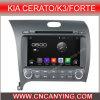 GPS Bluetooth (AD-8051)のKIA Cerato/K3/Forteのための人間の特徴をもつCar DVD Player