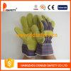 黄色い牛そぎ皮作業手袋の縞の綿のドリルの安全手袋Dlc311