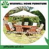 傘が付いている純木の屋外の家具の拡張可能な食事セット