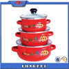 カスタムDecal Red Color Best 3PCS Soup Pot