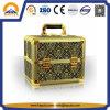 황금 휴대용 알루미늄 장식용 메이크업 상자 (HB-3207)