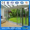 Preço de alumínio das portas de dobradura com vidro Tempered dobro